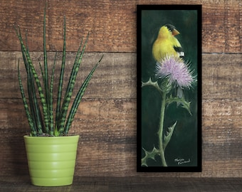 Cottagecore Bird wall art - Finch and Thistle - Limited Print # of 100 / Wildlife Fine Art Giclée