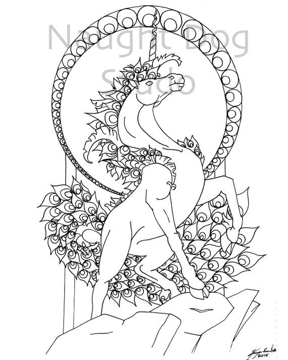 Unicorn Coloring Page Adult Coloring Page Digital Copy By Etsy