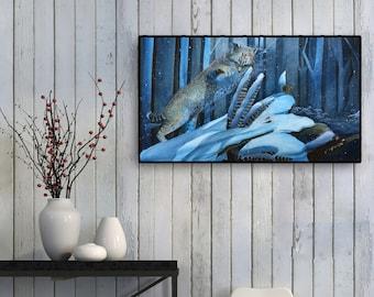 Blue Cottagecore Home Decor - Watercolor Bobcat print - animal art illustration - Wildlife home decor -  animal home decor