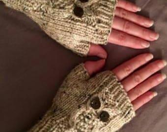 Handknit owl fingerless gloves