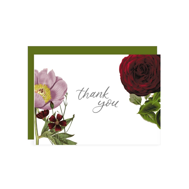 Romantic Thank You Card  thank you card  plant lover  plant mom  thank you  thanks  thank u  plant lady  thankful  roses  flowers