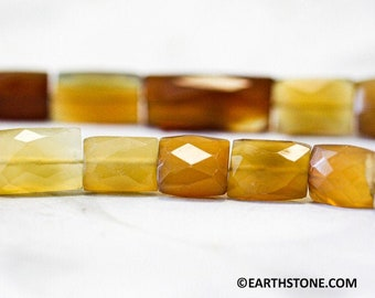 7x14MM Rectangle Faceted Stone 17Pc Natural  Chalcedony Cut Stone Yellow Chalcedony Faceted Gemstone,