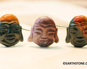 25mm Pack #1 Jasper in Macaron-Shaped Beads with Full-Drilled Holes ~ Oriental Carved Stones ~ Olive-Colored Jasper