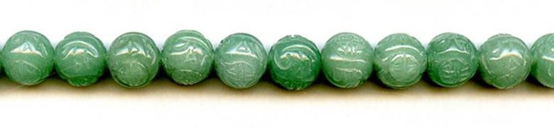 M Aventurine 10mm 12mm Carved Round Beads 15.5 strand Natural green gemstone quartz Oriental Style carved ball beads For jewelry making