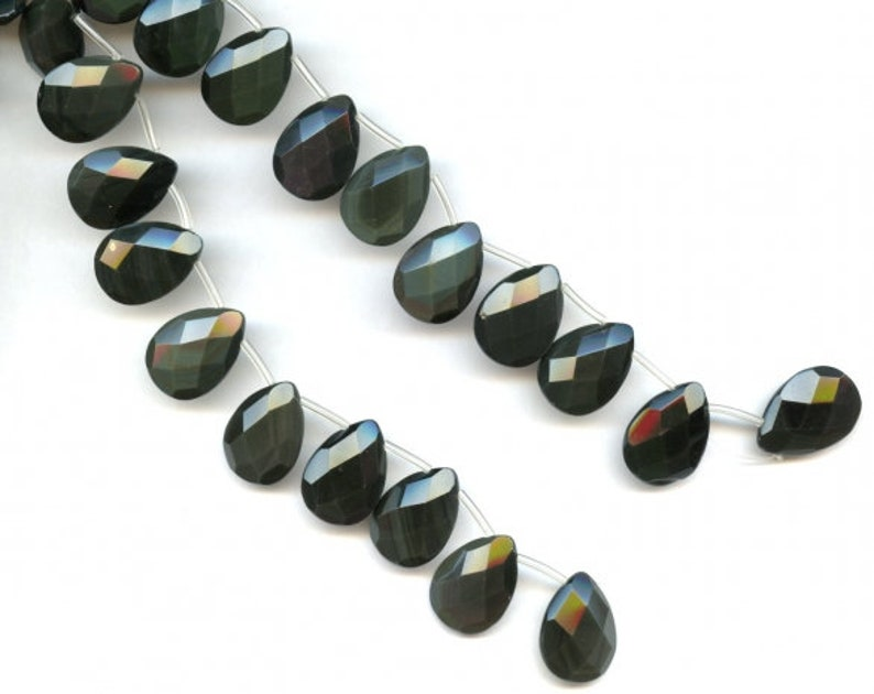 XL Rainbow Obsidian 15x20mm 18x25mm 22x30mm Flat Pear Briolette Beads 8 inches long Strand REAL Black Color gemstones  Not Dyed