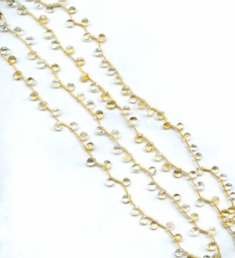 S Citrine 7x5mm Flat Pear Briolette beads 16 strand abt 42pcs Shade varies Enhanced yellow quartz gemstone beads For jewelry making