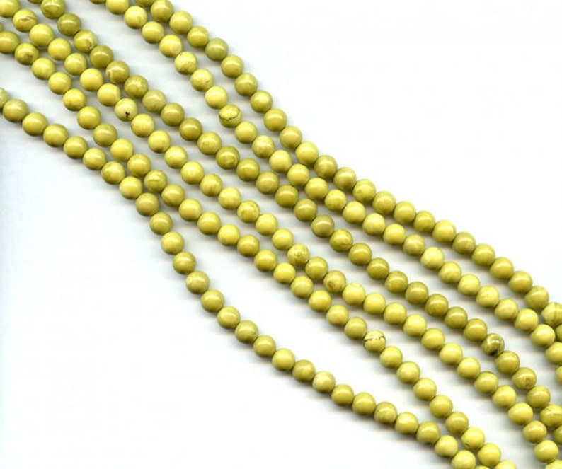 Yellow Turquoise 8mm Round loose beads 48 pcs About 16 Long  Bright yellow with black and brown matrix Not Dyed wholesale beads DIY Jewelry