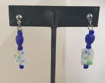 Blue and multi-colored flower bead stud earrings