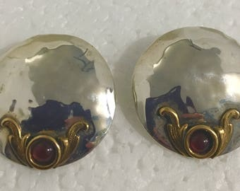 Sterling silver circle stud earrings with brass accents and carnelian