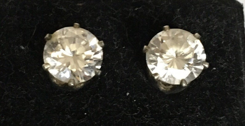 Cubic zirconia circle stud earrings with brass bezel image 0