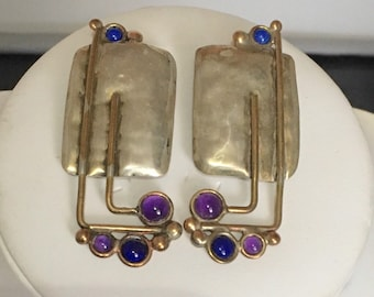 Sterling silver rectangle stud earrings with brass wire accents and amethyst and lapis stones