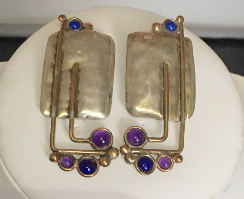 Sterling silver rectangle stud earrings with brass wire image 0