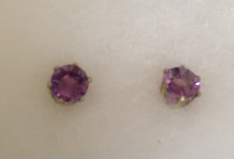 Circle amethyst stud earrings with sterling silver bezel image 0