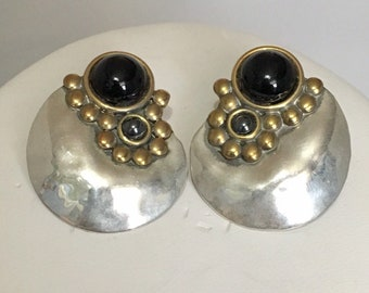 Sterling silver circle stud earrings with brass champagne bubbles and black onyx and hematite stones