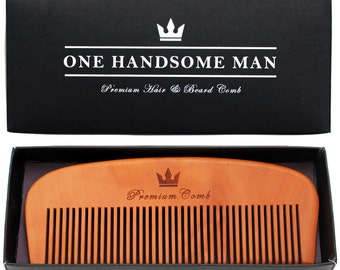 Premium Hair and Beard Comb - Quality pear-wood with elegant gift box.  Gifts for Men Top Choice.