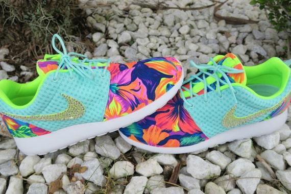 ee3043a22b12 Custom Artisan Teal Volt White Tahitian Floral Print Nike