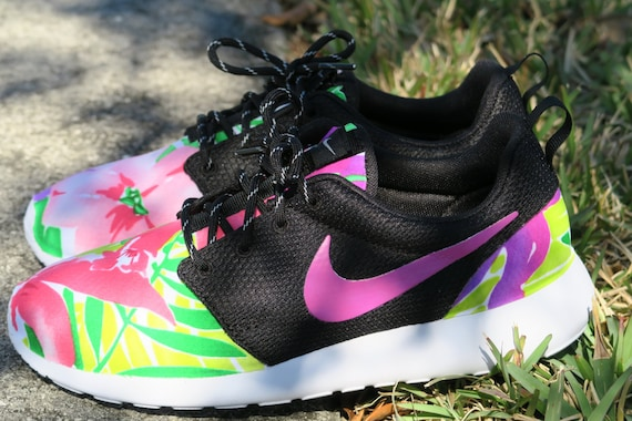 3b43602e2b Painted Custom Light Pink Floral Nike Roshe