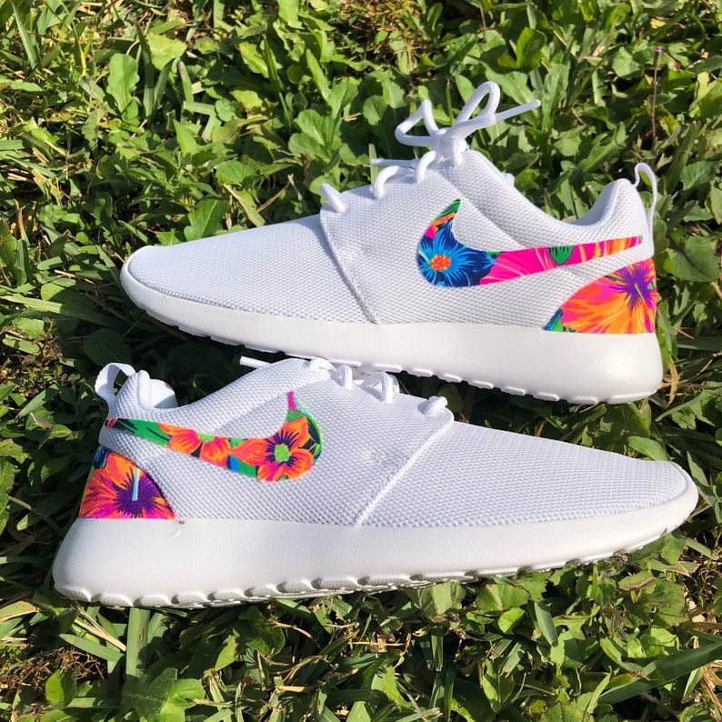 d9e515572219 Womens white tahitian tropical custom Nike Roshe