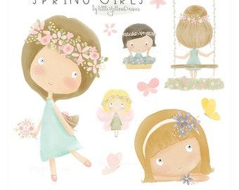 Spring Girls Clip Art-Girls Watercolor Clipart-Cute Girls Digital Clip Art-Watercolor Flower Clip Art-Pastel Watercolor Graphic Elements