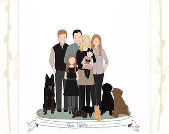 Family Portrait Custom Family Illustration Large Family Portrait Family Gift Cartoon Family Hand Drawn Illustration Custom Family Drawing