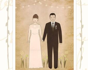 Bride Groom Portrait-Wedding Portrait-Custom Wedding Gift-Personalized Wedding-Anniversary Gift-Unique Gift For Couples-Rustic,Boho,Romantic