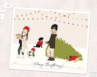 Personalized Christmas Cards-Custom Christmas Gift-Christmas Illustration-Family Christmas Card-Christmas Portrait-Personalized Holiday Card