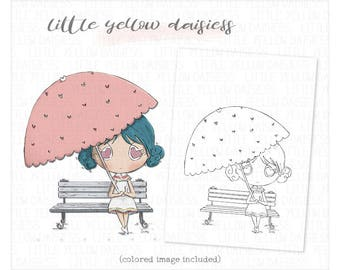 Girl Digi Stamp-Girl Coloring Page-Valentine Digital Stamp-Girl with Umbrella Clip Art-Love Coloring Clipart-Scrapbooking-Instant Download