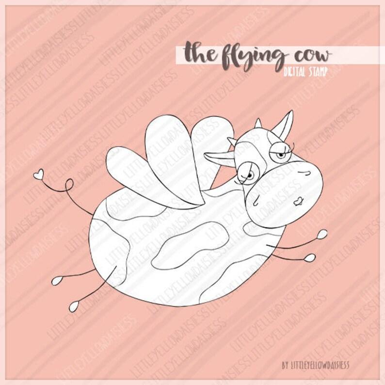 Coloriage Bebe Tapir.Vache Numerique Timbre Flying Cow Digi Stamp Enfants Coloriage Etsy