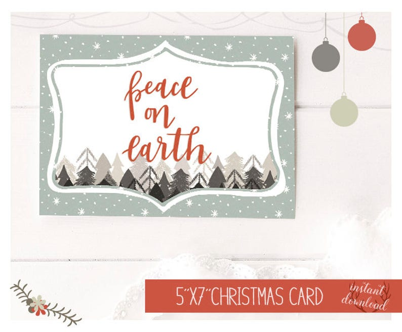 photo regarding Happy Holidays Printable Card referred to as Printable Trip Card, Rest upon Environment Card, Satisfied Holiday seasons Printable Card, White Xmas Card, Christmas Card Fast Down load