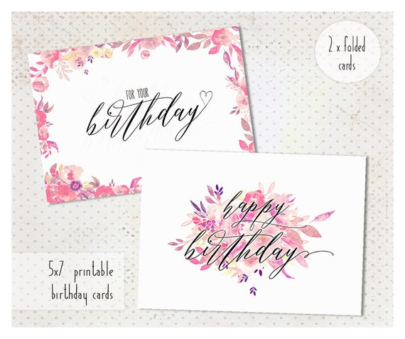 Birthday Card Printable Happy For Her 5x7
