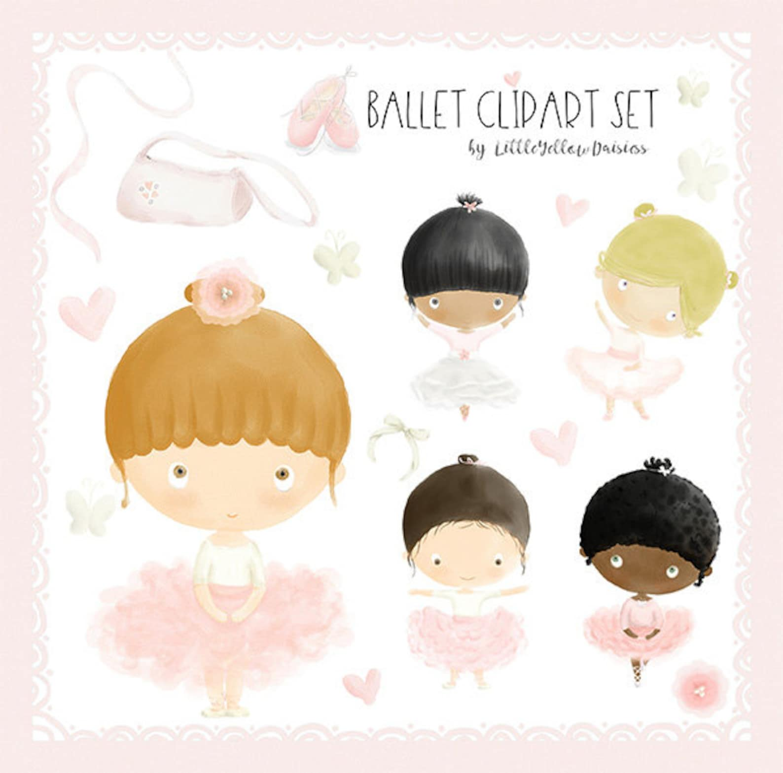 ballerina clip art set-ballet watercolor clipart-cute ballerinas-ballet shoes digital clip art-pink ballet girl images-watercolo