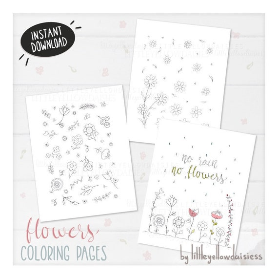 Flowers Coloring Pages Spring Coloring Book Floral