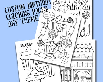 Birthday color page | Etsy