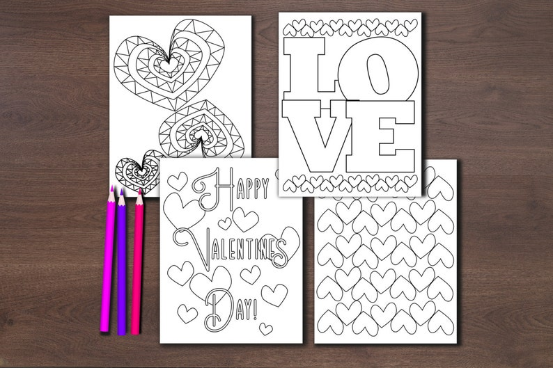 Printable valentine coloring pages girly color sheet non-food | Etsy