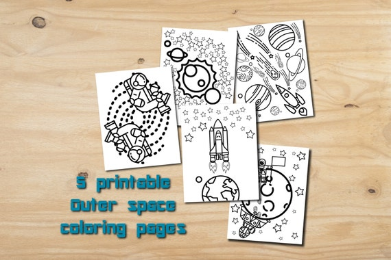 Outer Space Party Favor Printable Color Pages Instant