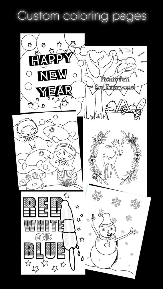 coloring sheets, personalized color page, birthday party favors, custom  coloring pages, custom birthday favors, personalized color sheet