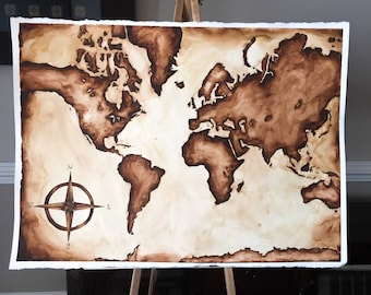 Hand Painted Watercolor World Map