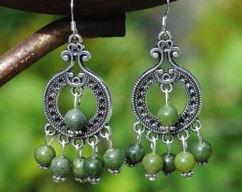 Jade Earrings ~ Green Jade Stone ~ Chandelier Earrings ~ Canadian Nephrite Jade ~ BC Jade Stone Beads