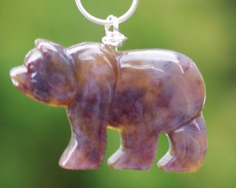 Indian Agate Necklace ~ Gemstone Bear Pendant ~ Autumn Colours ~ Sterling Silver