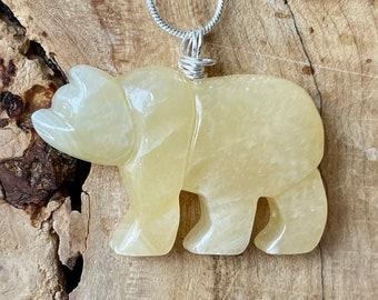 Yellow Calcite Necklace ~ Gemstone Bear Pendant ~ Polar Bear Jewellery ~ Sterling Silver Chain ~ Healing Jewelry