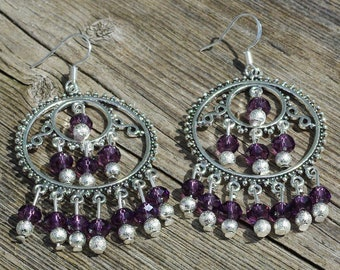 Amethyst Chandelier Earrings ~ Sparkling Purple Stones ~ Tibetan Silver ~ Purple Passion Jewellery ~ Birthday Gift ~ Gift for Mom