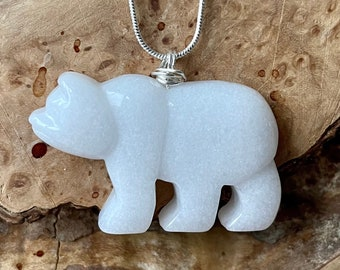 White Jade Necklace ~ Polar Bear Pendant ~ Sterling Silver ~ Healing Crystal ~ Good Luck Stone