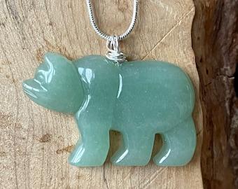 Green Aventurine Necklace ~ Gemstone Bear Pendant ~ Polar Bear Jewellery ~ Healing Crystal ~ Good Luck Stone