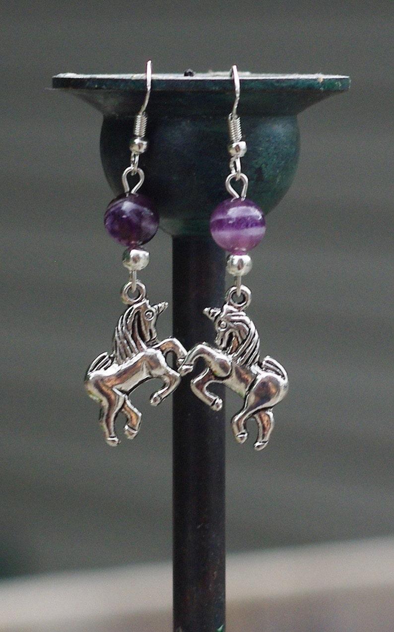 Amethyst Unicorn Earrings  Fantasy Earrings image 0