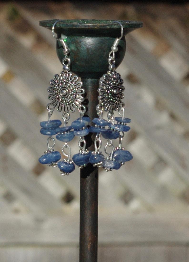 Kyanite Chandelier Earrings  Silver Tibetan Sun  Ice Blue image 0