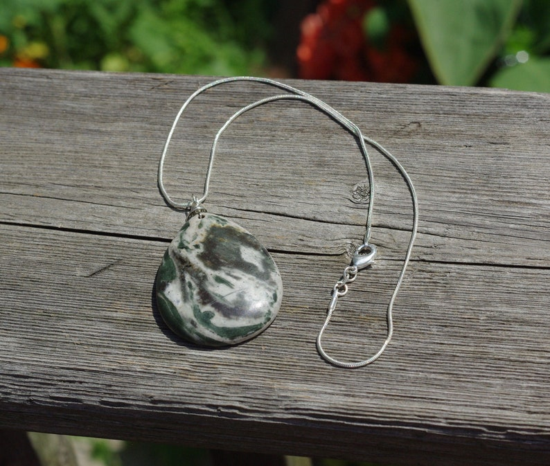 Moss Agate Necklace  Stone Pendant  Sterling Silver image 0