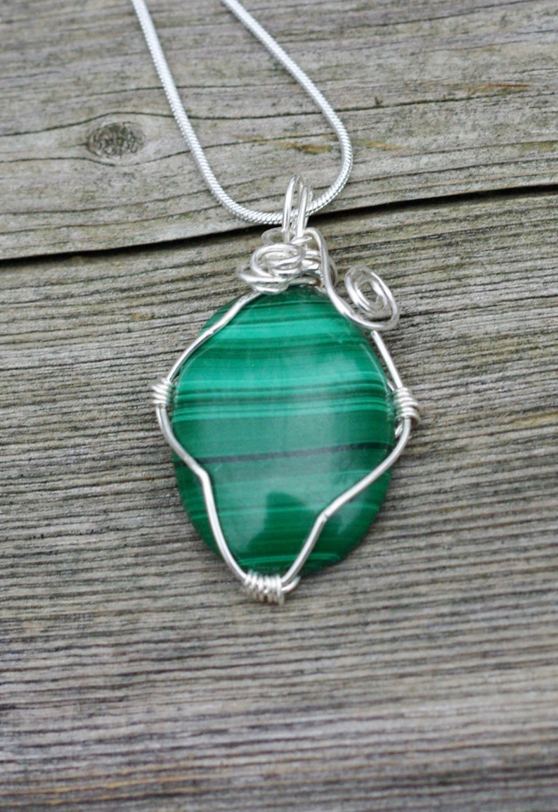 Malachite Stone Pendant Necklace  Hand Wired Sterling Silver image 0