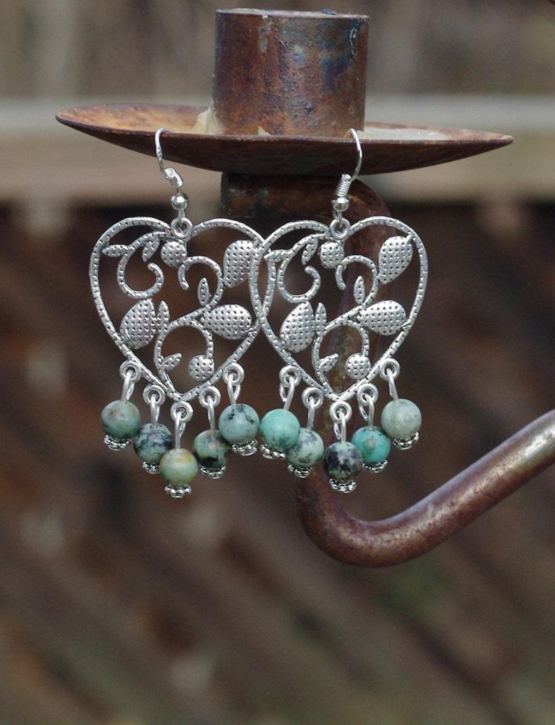 African Turquoise Heart Earrings  Heart Chandelier Earrings image 0