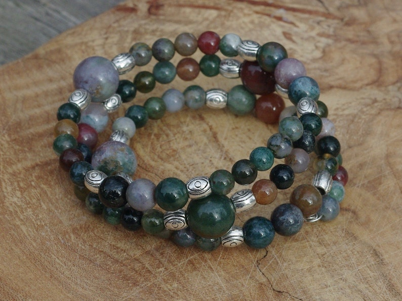 Indian Agate Stone Bracelet  Earth Tone Stones  Memory Wire image 0