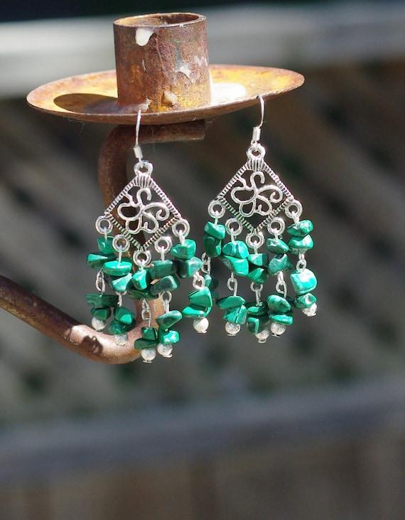 Malachite Stone Chandelier Earrings Green Stone Jewellery Etsy